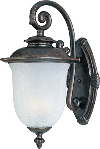 Maxim 86294FCCH Cambria EE 1-Light Outdoor Wall Lantern, Chocolate Finish, Frost Crackle Glass, GU24 Fluorescent Fluorescent Bulb , 60W Max., Dry Safety Rating, Standard Dimmable, Glass Shade Material, 1344 Rated Lumens