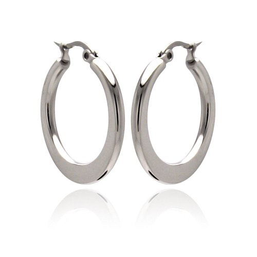 Stainless Steel Round, Flat Bottom Hoop Earrings 20mm, 30mm, 40mm, 50mm, 60mm (Bottom Hoop)