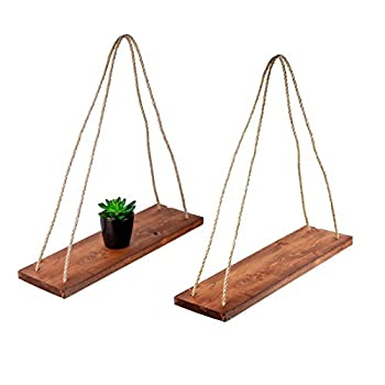 "Rustic Farmhouse Wood Hanging 17"" Distressed Wall Shelf (Set of 2) - Floating Shelves With Rope and Mounting Hardware – MADE IN USA - Modern Country Decor For Plant Display, Office, Organization"