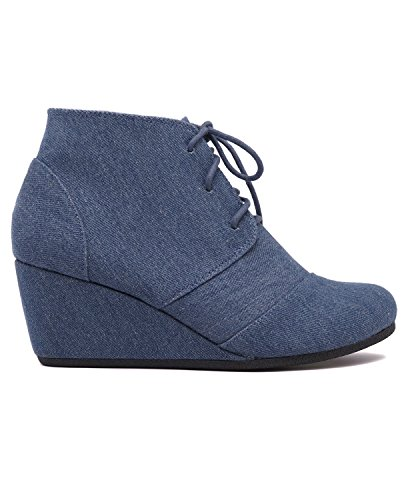 Denim Wedges Womens Suede Bootie up Lace Charles Rex Albert q18fE7