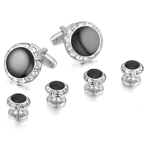 Fayumei TM Rhodium Plated Glass Enamel Cuff Buttons Cufflinks Black Silver Round Studs Set Tuxedo Sleeve Button Unique Cuff Links for Men with Gift Box