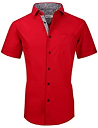 Mens Dress Shirts Casual Regular Fit Short Sleeve Shirts