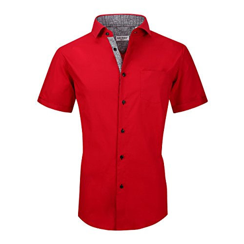 - Alex Vando Mens Dress Shirts Casual Regular Fit Short Sleeve Men Shirt(Red,Small)