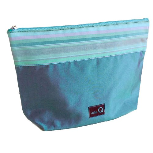della Q Large Zipper Knitting Case for Notions (9.5'' W x 6'' H x 2.75'' D); 017 Seafoam Stripes 1103-1-017 by della Q