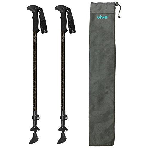 Trekking Poles by Vive - (Pair) Ultralight Antishock Walking Stick w/ Rubber, Ice & Snow Tips - Walking Staff for Men & Women (Graphite) (Men Staff)