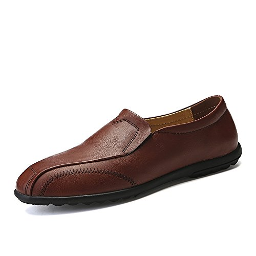 VILOCY Men's Slip On Flat Loafers Soft Leather Driving Moccasins Leisure Boat Shoes Brown XqIdRxTK