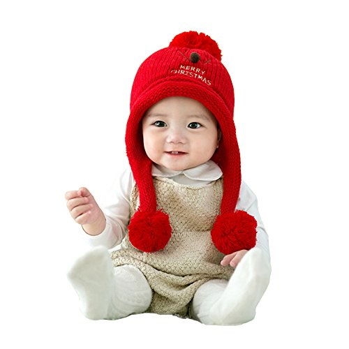 Drizzle Reindeer Christmas Hat Knitted Winter Holiday Embroidered Warm Cap for Baby Infant Toddler newborn
