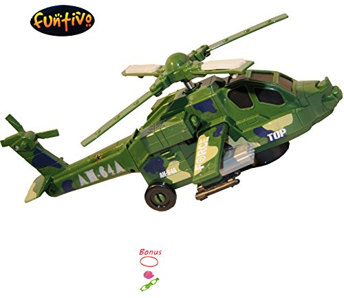 FFUNTIVO Bump-N-Go Falcon Sky Helicopter Toy with Lights and Sound, Battery Operated Boys/Kids Toy, 12'' (Random Colors-yellow or green) (Go Helicopter)
