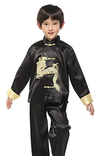 Suimiki Traditional Chinese Dragon Kung Fu Outfit Tang Suit For Boys Black 16