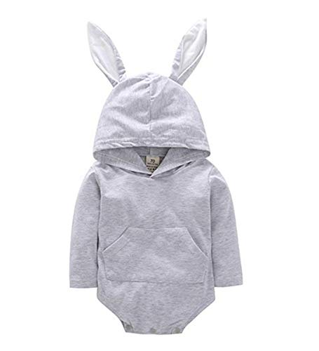 (Newborn Infant Unisex Baby Romper Bunny Ear Hoodie Bodysuit Cartoon Rabbit Long Sleeve Jumpsuit Outfits (18-24 Months, Pink))