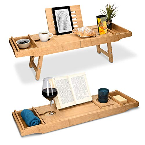 Navaris Bambus Badewannenablage Frühstückstablett ausziehbar – Buch Ablage Weinglas Halterung – Tablett für Badewanne und Bett – aus Holz in Braun