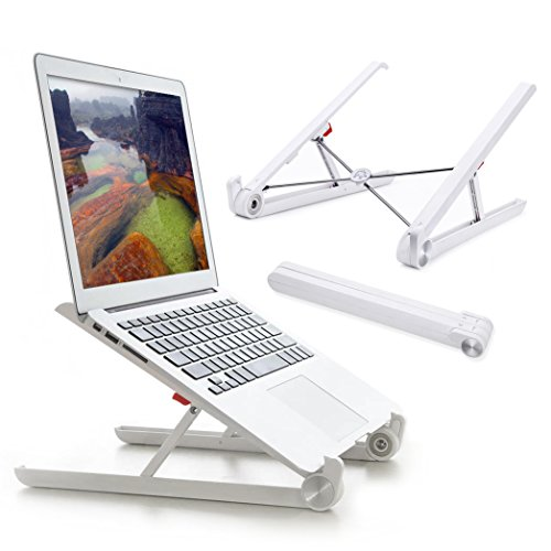 Laptop Stand for Desk, Steady Foldable Portable Adjustable Ergonomic Light Weight Minimalist NoteBook Holder in Desktop to Keep Screen in Eye Level For Macbook Pro Air ThinkPad MateBook (Milky White)
