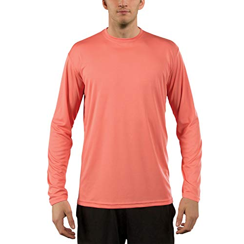 (Vapor Apparel Men's UPF 50+ UV Sun Protection Performance Long Sleeve T-Shirt X-Large Salmon)