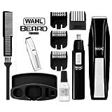 Wahl 5537-1801 Wireless Men's Beard & Ear/Nose Trimmer - Black (5537-1801) - Self Sharpening Blades , 5-Position Guide