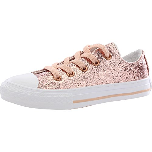 Converse Youth Chuck Taylor All Star Ox Dusk Pink Blush Gold Synthetic Trainers 35.5 EU -