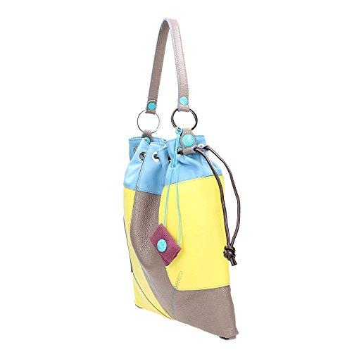 GABS bolso de mano de la mujer JESS-E17 MULTI 1730 Gianduia Celeste-giallo