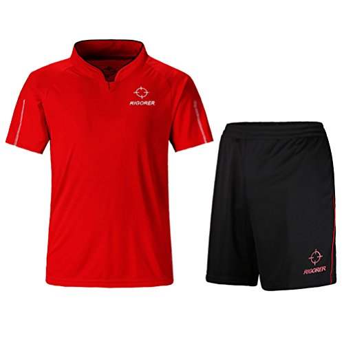 Rigorer Short-Sleeve Soccer Uniforms Jersey and Shorts Set Red&Black (Solid Game Football Pant)