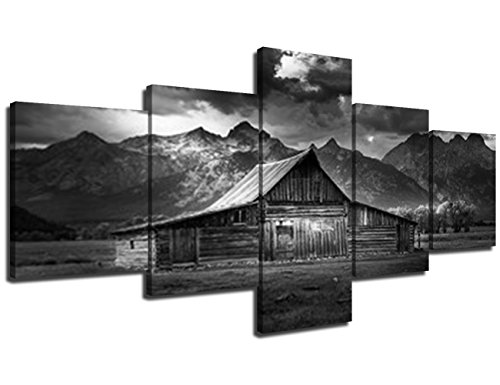 (Grand Teton National Park Canvas Prints,Modern Painting Wall Art 5 Piece Wall Art HD Print on Photo Artwork for Home Decor Giclee Posters and Prints Gallery-Wrapped Framed Ready to)
