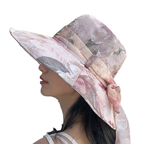 KCPer Summer Hat Sun Hat Women with UV Protection Wide Brim Floppy Foldable All-Match Beach Travel Beige