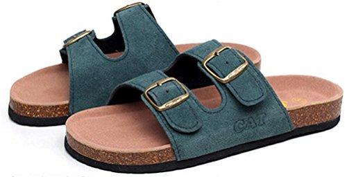 Cuero De Las Señoras De Las Mujeres Planas Zapatillas De Pies Suaves Afiladas Sandalias Atléticas Verde Oscuro
