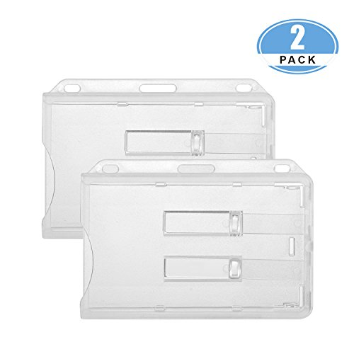 JUMI ID Card Name Badge Holder (Holds 2 Cards) 3x4 Inchs Horizontal Hard Plastic Heavy Duty Transparent Polycarbonate Dual Slide out Tabs 2 (Name Badge Cards)