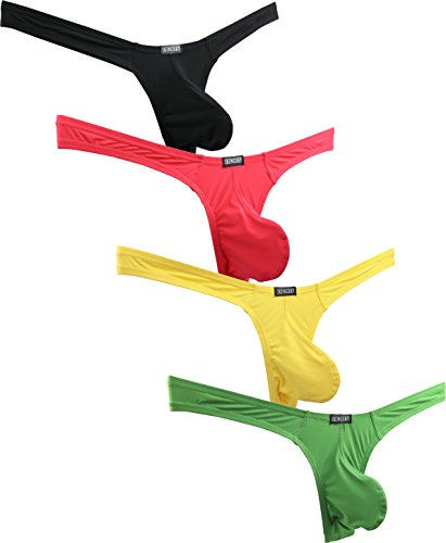 (iKingsky Men's Low Rise Thong Sexy T-Back Mens Underwear (Large, 4 Pack-3))