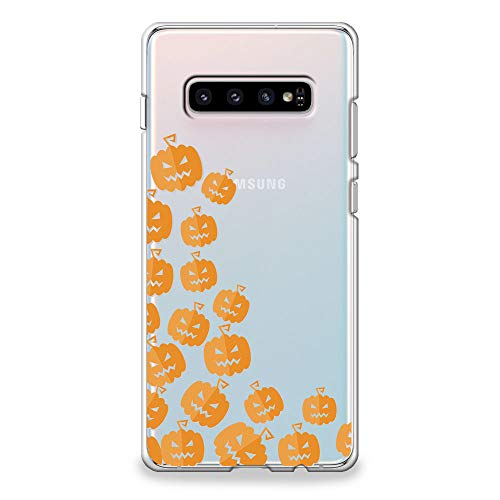 CasesByLorraine Samsung Galaxy S10 Case, Halloween Cute Pumpkins Clear Transparent Case Flexible TPU Soft Gel Protective Cover for Samsung S10 (P111) -