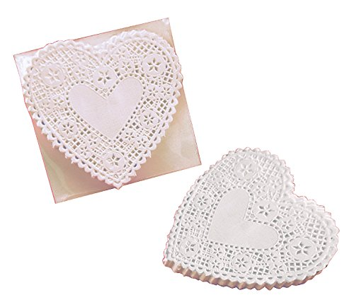 School Smart Heart Shaped Paper Lace Doilies - 4 inch - Pack of 100 - White