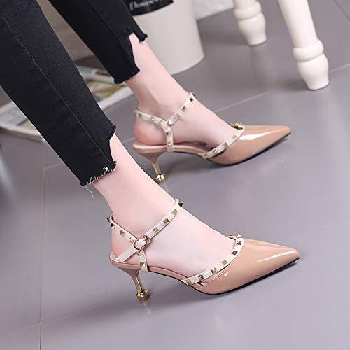 Yukun Schuhe mit hohen Absätzen Rote High Heels Toasted Buckle Buckle Buckle Wies Hohe Ferse Weibliche Starke Ferse 39 Karamell 007af7