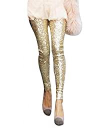 Women's Winter Bling Sequins Cotton Slim Skinny Leggings Casual Pants
