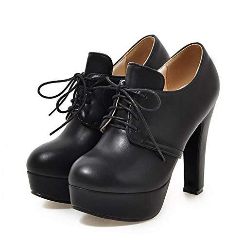 Épais Noir Lacent Orteil Bureau Pompes Plateforme Femmes Chaussures Talons Jrenok Dames Stilettos Rond xtg7OwS