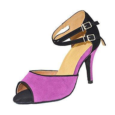 RUGAI-UE Nicht anpassbar - - - die Frauen tanzen Schuhe Leder Leder Latin Moderne Turnschuhe Ferse Praxis 4  (10cm) Slim High Heel Lila Uns 4-4.5 EU 34  UK 2-2.5 CN33 b2a67e