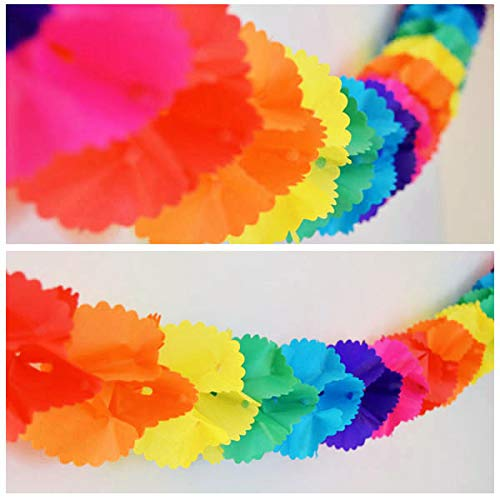 Rainbow Paper Garland - 12 Ft Long by New Paradise