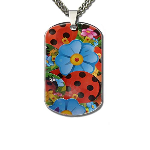 Personalized Military Style Dog Tags Aluminum 22.8 Inch Chain - Pinwheel Flower Ladybug Colorful