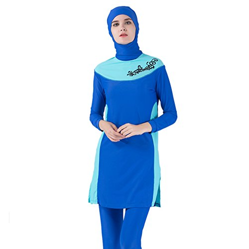 Lazy Cat Full Cover Modest Muslim Swimsuit Islamic Clothing For Women With Hijab (S, Light -