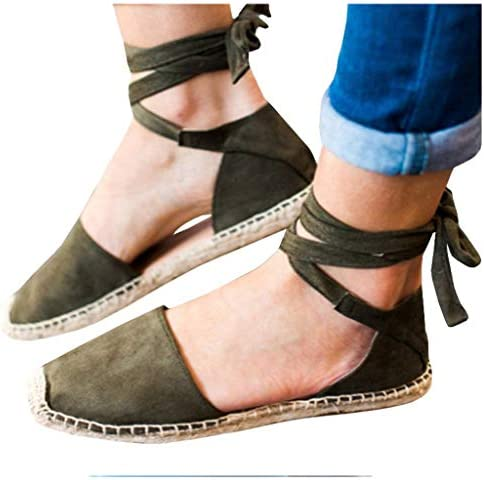 Amlaiworld Women Canvas Shoes Flat Lace-Up Espadrilles Summer Chunky Holiday Sandals Shoes Strap Shoes Roman Single Shoes