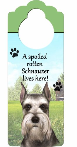 "Schnauzer, Cropped Wood Sign ""A Spoiled Rotten Schnauzer, Cropped Lives Here""with Artistic Photograph Measuring 10 by 4 Inches Can Be Hung On Doorknobs Or Anywhere In Home"