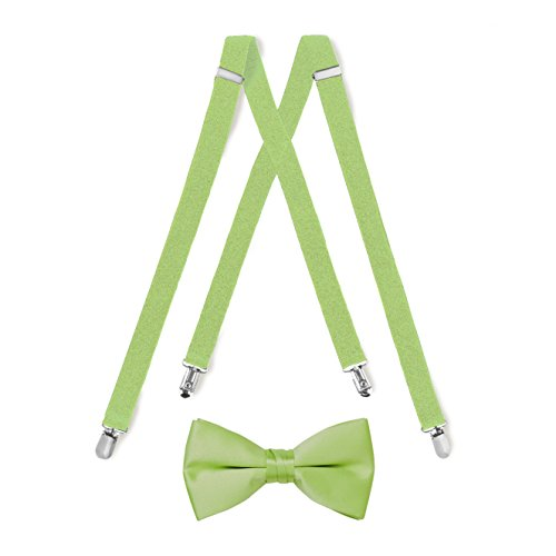 Suspender & Bow Tie Set (Kids, Lime Green)