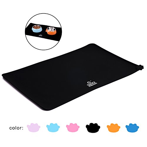 Super Design Pet Feeding Mat Premium FDA Grade Silicone Waterproof Non Slip Dog Cat Bowl Placemat Black