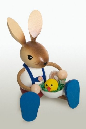 Easter Bunny Rabbit Boy with Chicken German Wooden Figurine