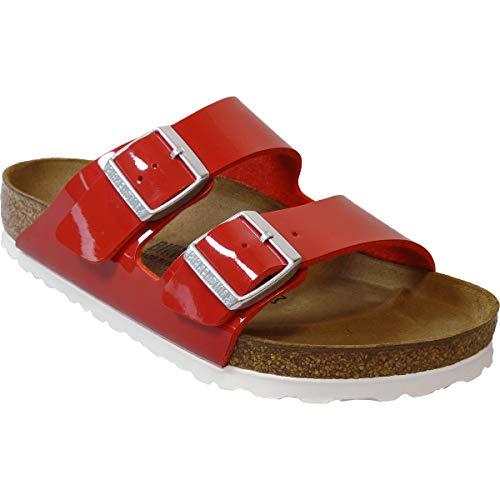 Birkenstock Womens Arizona Tango Red Patent Birko-Flor Sandals 40 EU