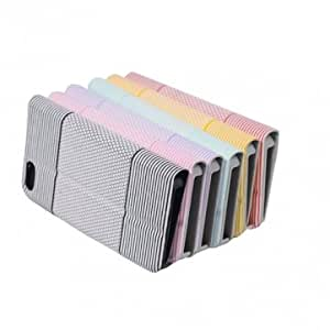 Korean Design Color Button Flip With Stand Leather Case For iPhone5 --- Color:Pink