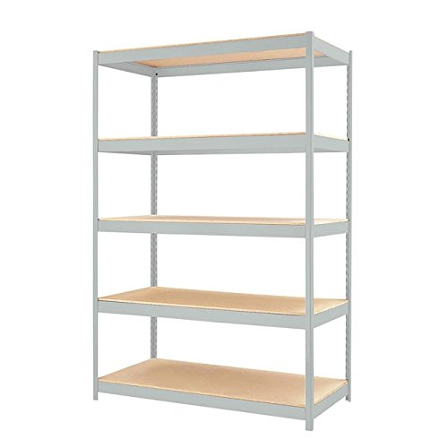 Hirsh Industries Steel Shelving Unit, 48 by 24 by 72-Inch, Light Gray by Hirsh Industries