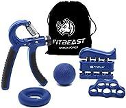 FitBeast Hand Grip Strengthener Workout Kit (5 Pack) Forearm Grip Adjustable Resistance Hand Gripper, Finger E