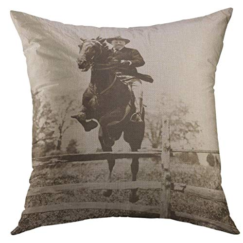 - Mugod Pillow Cover President Theodore Roosevelt Jumping on His Charger Bleistein Chevy Chase Club 1902 The Horse was from Home Decorative Throw Pillow Cushion Cover 16x16 inch Pillowcase