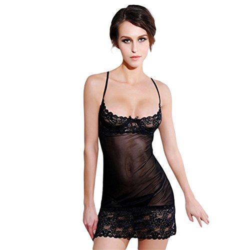 Sexy Lingerie Dress,Hemlock Women Strap Bustier Crop Top Underwear Jumpsuit Dress (Free, Black)