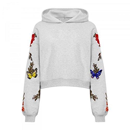 Tefamore Señora Digital Flower Butterfly Print Plus Velvet Sleeve Hooded Sweater Top Gris