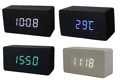 Horloge Pour Bureau : Lzndeal mini led horloge en bois usb powered réveil de bureau