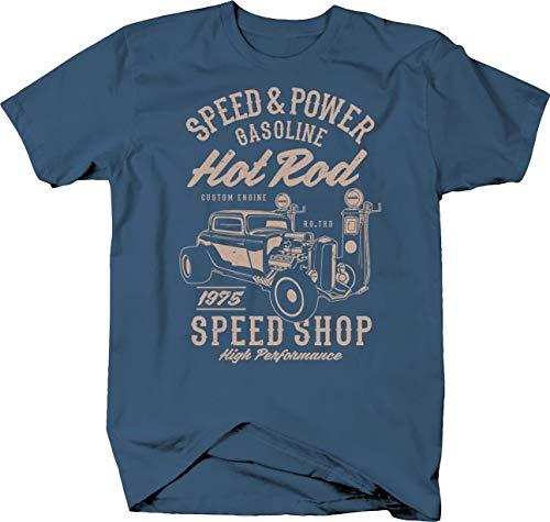 (Hot Rod Speed and Power Gasoline Gas Station 1975 Speed Shop Tshirt XLarge Denim)