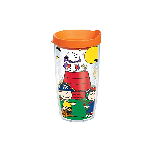 Tervis Peanuts Halloween Individual Wrap Tumbler with Orange Lid, 16 oz, Clear